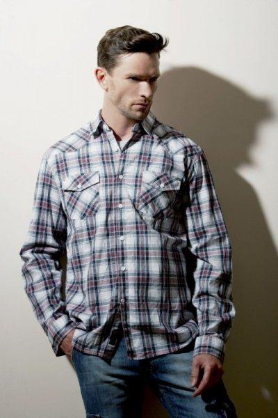Henderson Dice 23765 -33X Pánská košile M tmavě modrá-červená(33)