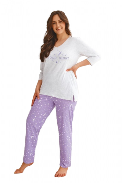 Taro Isabel 2602 Dámské pyžamo plus size XXL šedá-fialová