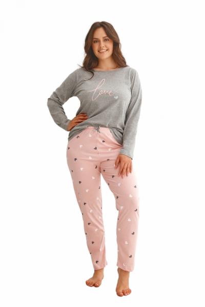 Taro Cora 2607 Z'22 Dámské pyžamo plus size XXL šedá-růžová