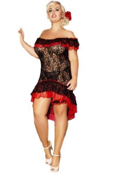 Andalea Flamenco Košilka 50/52 černo-červená