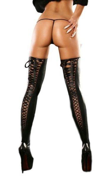 Lolitta Lacing Stocking black Punčochy L/XL černá