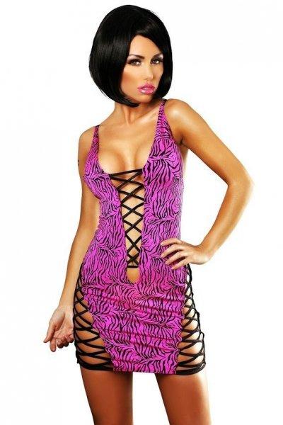 Lolitta Zebra Dress Šaty L/XL růžovo-černá