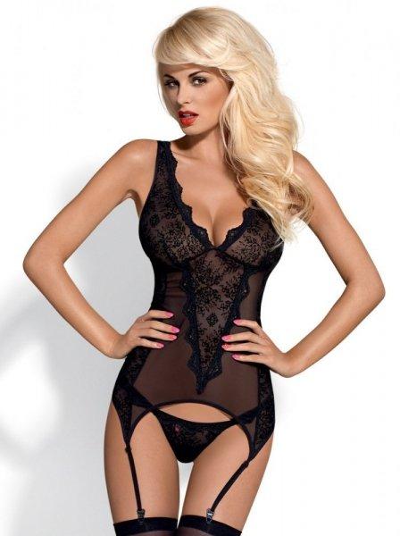 Obsessive Emperita corset XXL černá