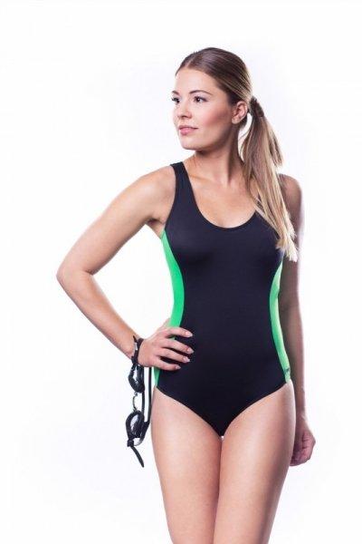Dámské sportovní plavky Shepa 006 (B1D19) XXL černo-zelená