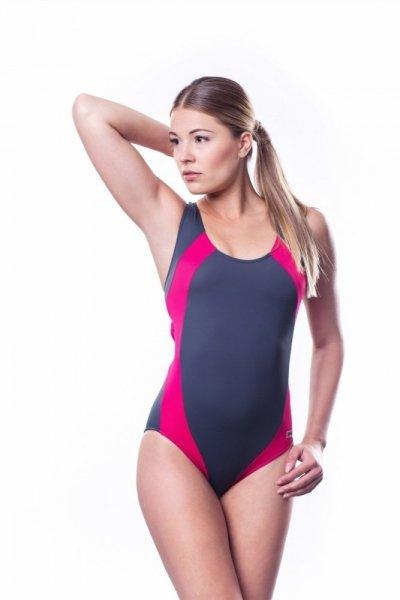 Dámské sportovní plavky Shepa 009 (B3D9) L grafitovo-růžová
