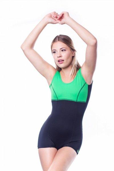 Dámské sportovní plavky Shepa 016 (B1D19) 4XL černo-zelená