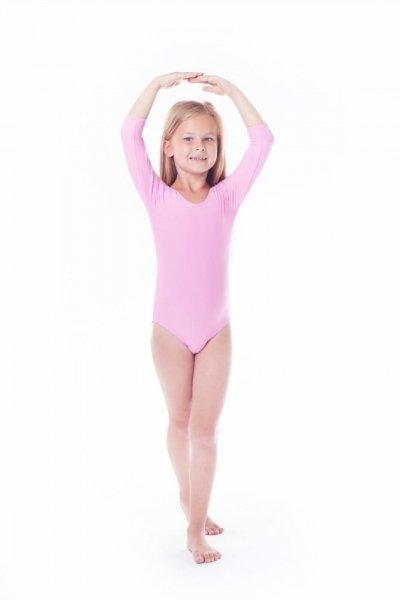 Gymnastický dres Body lycra (B9) rukáv 3/4 Shepa 134 růžová
