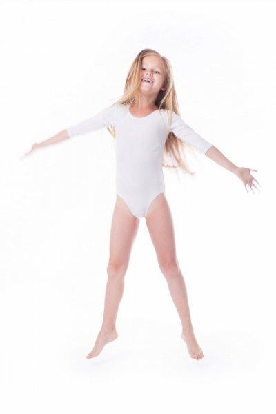 Gymnastický dres Body lycra (B7) rukáv 3/4 Shepa 134 bílá