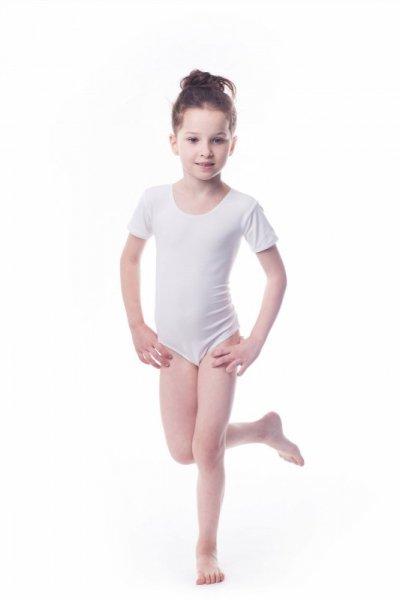 Gymnastický dres Body lycra (B7) krátký rukáv Shepa 146 bílá
