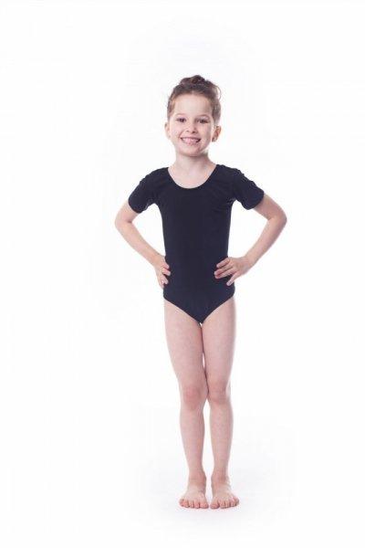 Gymnastický dres Body bavlna (B1) krátký rukáv Shepa 140 černá
