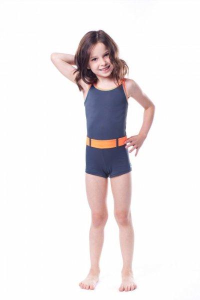 Dívčí plavky Shepa 071 (B3D11) 116 grafitovo (tmavě šedá) - oranžová
