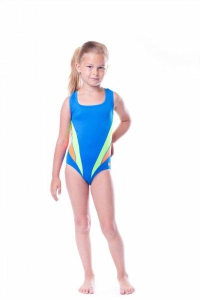 Dívčí plavky Shepa 045 (B4D16/11) 158 modrá s limonkou