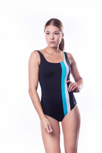 Dámské sportovní plavky Shepa 047 (B1D8/7) L černo-blankytná