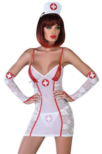 LivCo CORSETTI Erotický kostým Charleen L/XL bílá