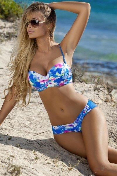 Ewlon Ibiza Dámské plavky 38 zeleno-růžová