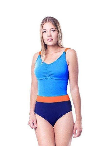Dámské jednodílné plavky Shepa 074 (B4D11/2) XXL modro-oranžová