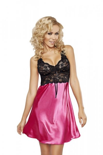 DKaren Oliwia košilka saténová s krajkou pink růžová M růžovo-černá