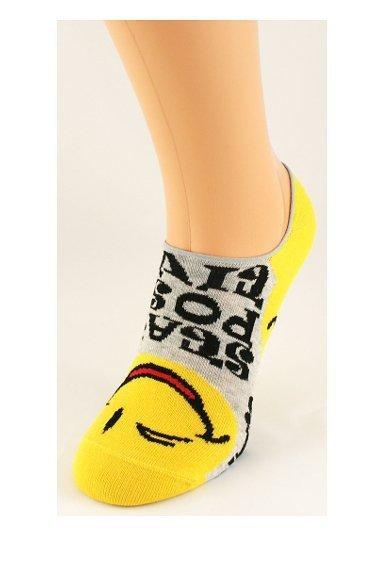 Bratex Emotikony 9858 Barevné dámské ponožky 36-38 černá-fuchsie